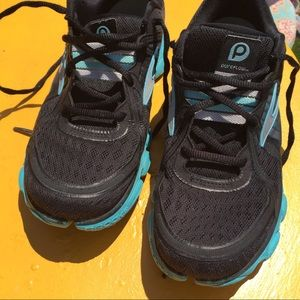 Brooks PureFlow Woman's 8.5 M black aqua shoe